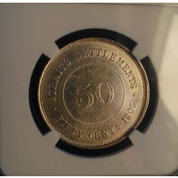 Стрейтс Сетлментс 50 центов 1903 (СЕРЕБРО) AU