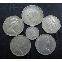 Великобритания. Шесть монет 1951-1997 г.