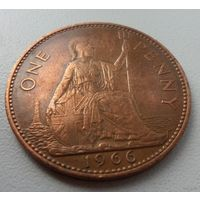 1 пенни Великобритания 1966 г.в. KM# 897 PENNY, из коллекции