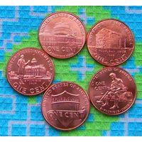 США 1 цент Жизнь Авроама Линкольна. Щит. 5 монет. UNC. Инвестируй в монеты планеты!
