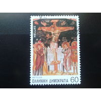 Греция 1994 фреска в храме ( деталь )