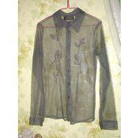 Прозрачная блузка с аппликациями роз р.44-46