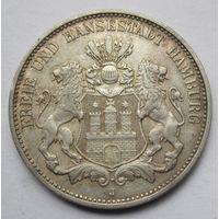 Германия, Гамбург, 3 марки, 1910, серебро