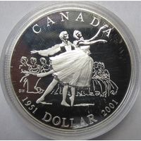 Канада, доллар, 2001, серебро, пруф