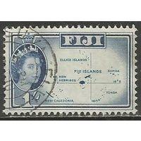 Фиджи. Королева Елизавета II. Карта островов. 1959г. Mi#142.