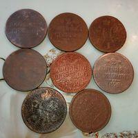 Николай 1   ( 2 копейки серебром ) монеты  8 шт.