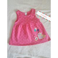 Платье сарафан для девочки 3-6 мес. Как новое. 1 раз одето для фото. Хлопок. Смотрится очень мило. Всего за 19 руб. Могу выслать почтой.