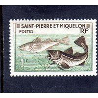 Сен-Пьер и Микелон. Ми-382.Треска (Gadus morrhua). Серия: Рыболовство. 1957.