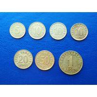 Эстония. 5, 10, 20, 50 сентов; 1 крона. 1992-2008.