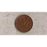 Финляндия 10  пенни 1937 /красная/(Sx)