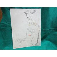 Офорт карикатура на Ген.-лейт. барона П.Н.Врангеля. Кукрыниксы 1927 год размер 29х22 см.