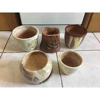 Горшки цветочные глиняные 5 Шт вместе