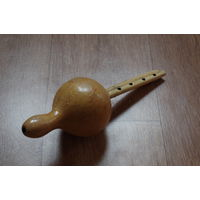 Бурдонная двойная индийская флейта. Из тыквы. Индия. Подарок или сувенир для ценителя музыки и традиционных культур.