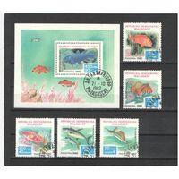 Мадагаскар 1982г, тропические рыбы, 5м. 1бл.