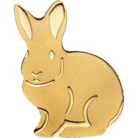 "Палау 1 доллар. ""Кролик"".  Монета в капсуле; сертификат. ЗОЛОТО 0,5гр."
