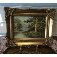Картина Пейзаж Лес у реки масло подпись художника Англия старинная