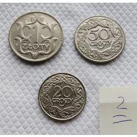 1 злотый,1929. 50, 20, грошей 1923 г. /одним лотом/ #2