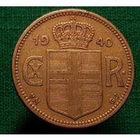 Исландия Датская 1 крона 1940, со знаком Минцмейстера