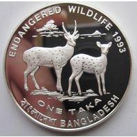 Бангладеш. 1 така 1993. Олени. Серебро. Серебро (88)