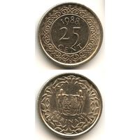 Суринам 25 центов 1988 г. KM#14a