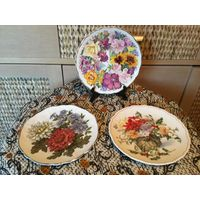 Тарелка коллекционная Цветы Англия ( Royal Albert, Royal Doulton и др) 3 шт