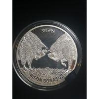 20 рублей Беларусь зубры серебро 2012