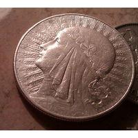 10 zlotych 1932  Warszawa  glowa kobiety, ze znakiem mennicy  серебро 22 грамма