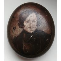 Редчайший предмет, миниатюра, письмо по камню, 19-й век, Портрет Гоголя, подпись, RRR, оригинал!