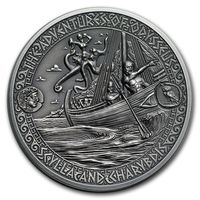 """Соломоновы острова 5 долларов 2018г. """"Путешествия Одиссея: Сцилла и Харибда"""". Монета в капсуле; подарочном футляре; сертификат; коробка. СЕРЕБРО 62,27гр.(2 oz)."""