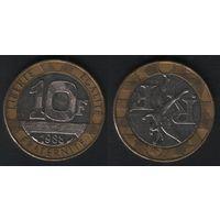 Франция _km964 10 франков 1988 год (обращ) km964.1 (f32)