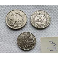 1 злотый,1929. 50, 20, грошей 1923 г. /одним лотом/ #3