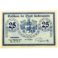 РАСПРОДАЖА!!! - ГЕРМАНИЯ ИККЕРМЮНДЕ (МЕКЛЕНБУРГ-Передняя ПОМЕРАНИЯ) 25 пфеннигов 1921 год - UNC!