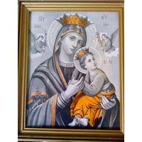 Икона старая католическая в деревянной раме-20 век.