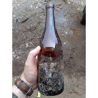 Бутылка с остатками наклейки. Вермахт.