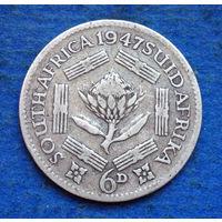 Южная Африка Британский доминион 6 пенсов 1947 Георг VI тип 1