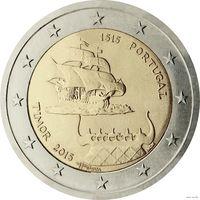 2 евро 2015 Португалия 500-летие первого контакта с Тимором UNC из ролла