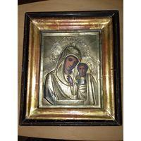 Икона старинная Казанская Богородица в киоте
