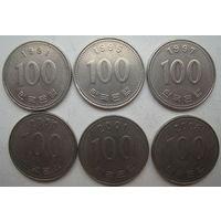 Южная Корея 100 вон 1991, 1995, 1997, 2000, 2001, 2008 гг. Цена за 1 шт. (g)