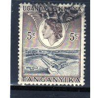 Британские колонии.Кения,Уганда,Танганьика. 5с. Королева Елизавета II. Дамба.