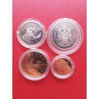 Набор Канада 1995 год. 1 доллар, 50 центов, 25 центов, 1 цент. Капсула.