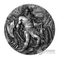 """Токелау 10 долларов 2017г. """"Легенды Асгарда: Гигант Ймир"""". Монета в подарочном деревянном футляре; номерной сертификат + номер на гурте; коробка. СЕРЕБРО 93,311гр.(3 oz)."""