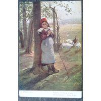 Старая открытка. Девочка, пасущая гусей. Чехия. Чистая.