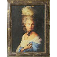 Портрет  женщины в шляпе с перьями. Репродукция.  Цветная печать.