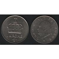 Норвегия km419 1 крона 1977 год (AB) (h04)