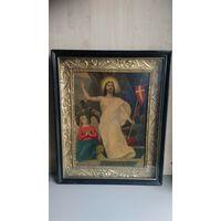 Икона старинная,  католическая,  литография.
