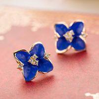 """Серги гвоздики """"Голубой цветок с горным хрусталём"""". распродажа"""
