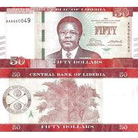 Либерия  50 долларов 2017 год  UNC (новинка)