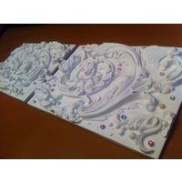 ПАРА 2 шт ПЛИТА-плитка-панно-барельеф-горельеф СОСТАВНАЯ  44х31.5х3.5 см - размер одной  плиты