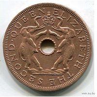 Родезия и Ньясаленд, 1 пенни 1963. Слоны, колония Британии
