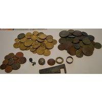 Монеты не чищенные 120 штук (50 медных+70 дореформа СССР)+копанина